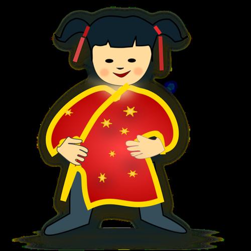 卡通新年福娃女孩插画