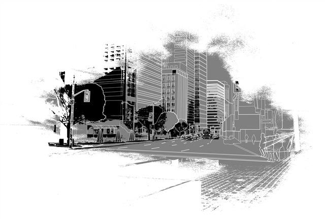 城市建筑手绘