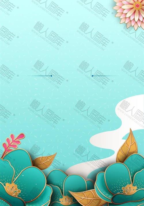 绿色清新中国风花朵背景图片