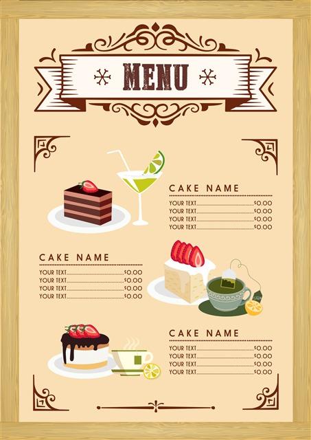 甜品店美食菜单模板