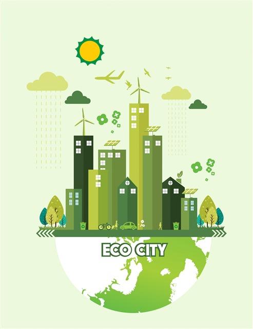 绿色生态城市卡通插画