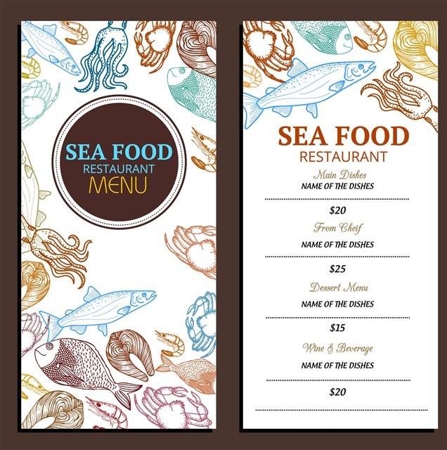 原创海鲜餐厅菜单模板