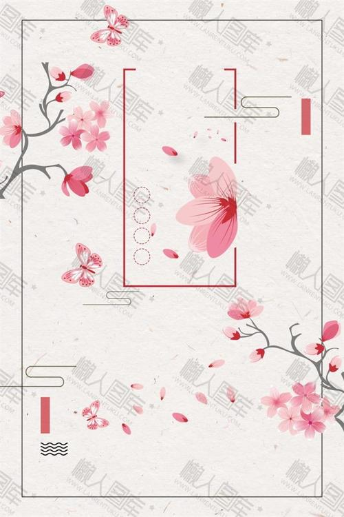 粉色桃花古风背景素材