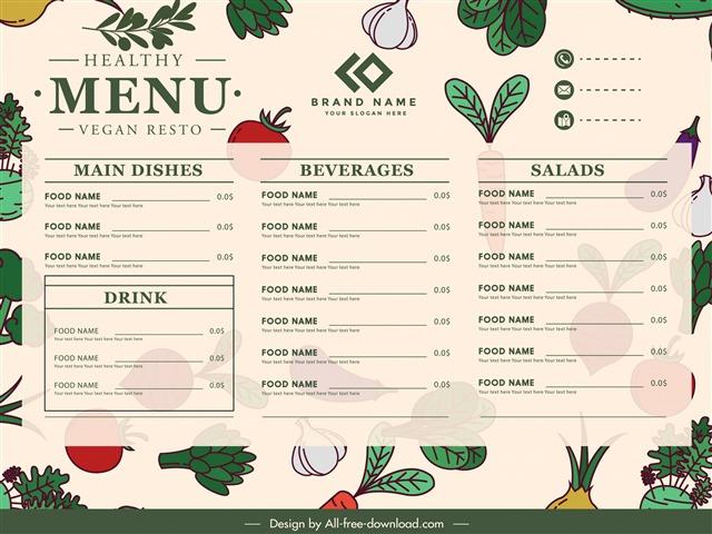手绘菜单模板设计图