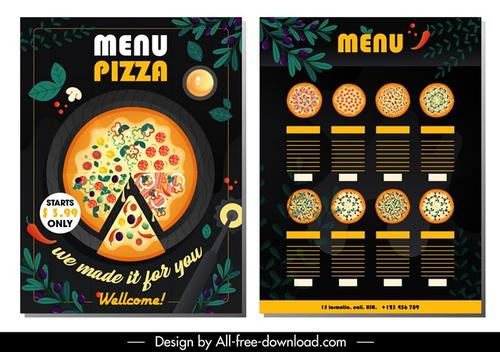 披萨店菜单菜谱模板
