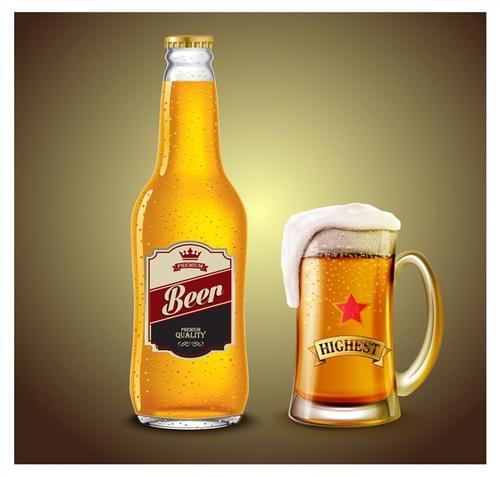 玻璃瓶啤酒矢量素材
