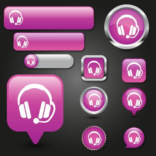 音频音乐按钮矢量