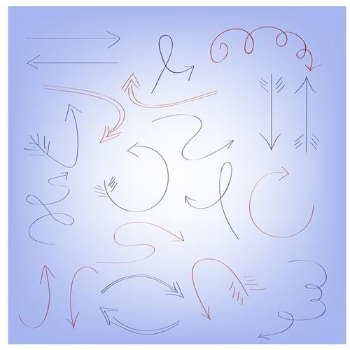 手绘涂鸦箭头矢量图标
