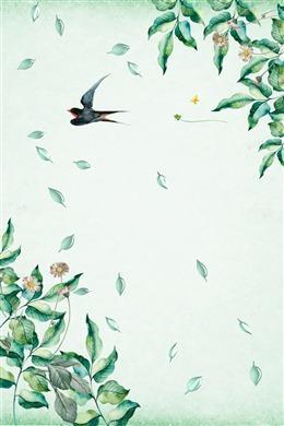 小清新手绘燕子海报背景