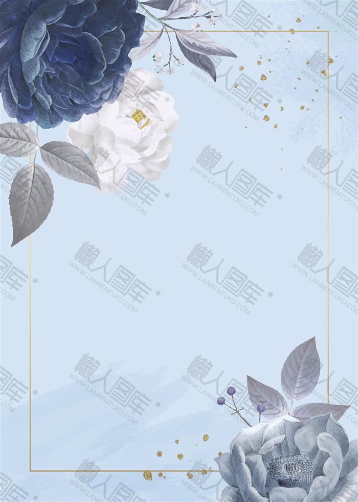 蓝色花朵海报背景图片