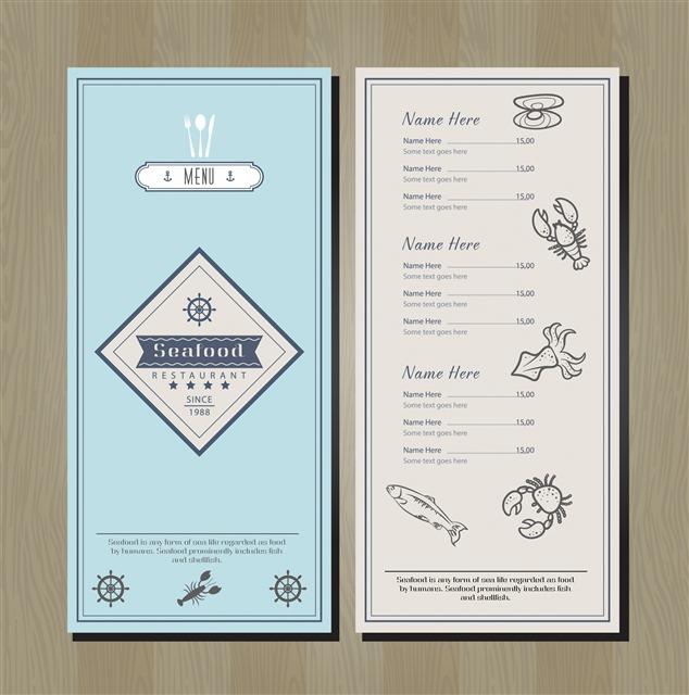 海鲜美食餐厅菜单模板