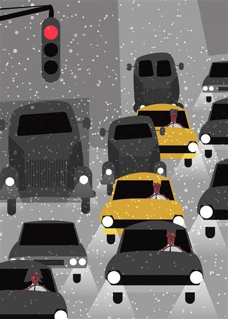 小雪天气交通图片