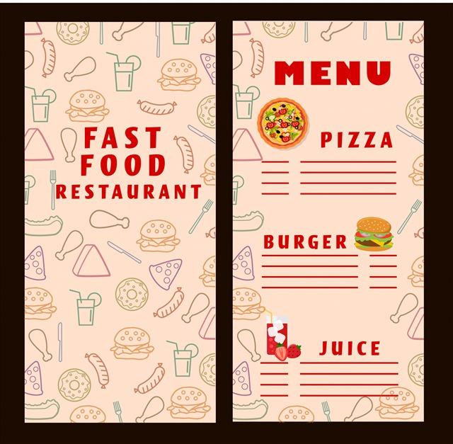 快餐店菜单模板
