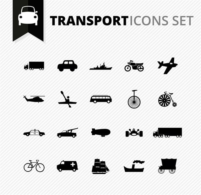 交通工具图标矢量图