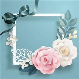 鲜花爱心剪纸