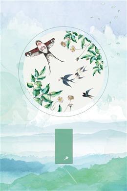 绿色小清新燕子背景图