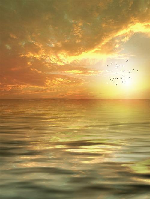 唯美海面黄昏背景