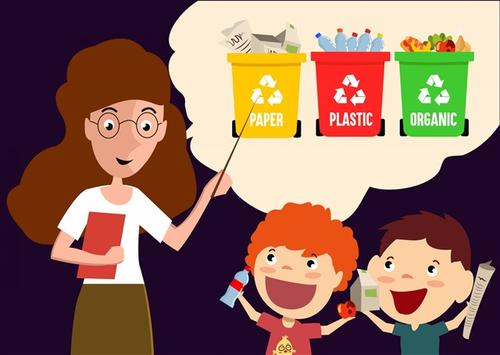 小学生垃圾分类教育卡通插画
