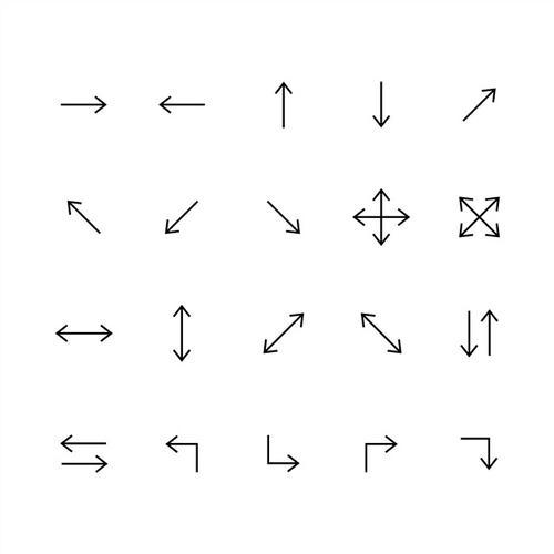 黑色线性箭头图标图片