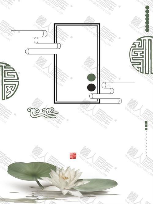 中国风手绘荷花背景图片