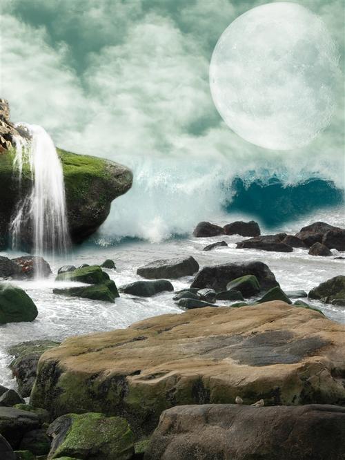瀑布山水画图片