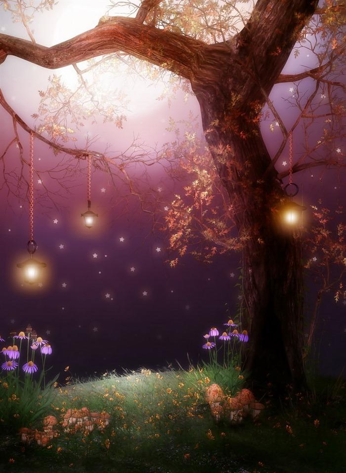 卡通彩绘森林夜空背景图免抠