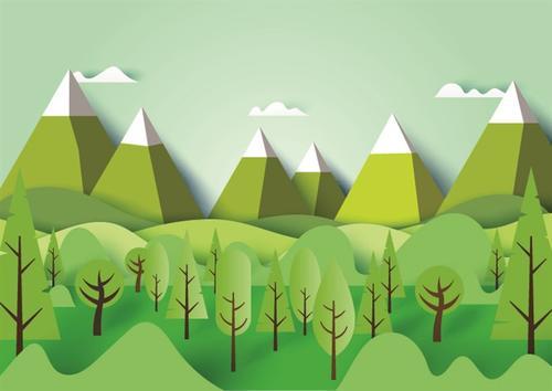 绿色风景插画
