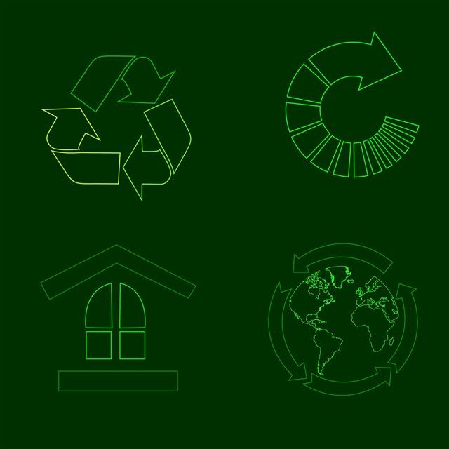 绿色线性环保图标图片