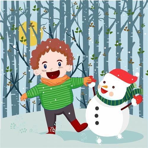 小雪节气插画图片