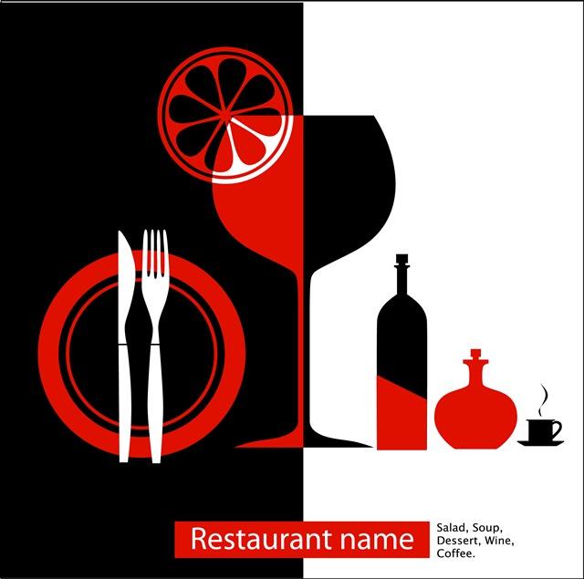 西餐厅菜单元素图片