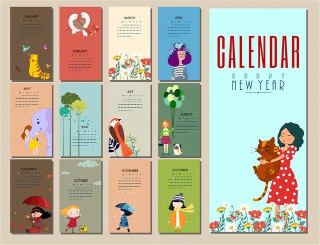 卡通可爱日历插图