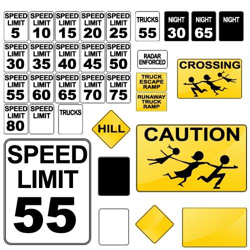 交通警示标志矢量图