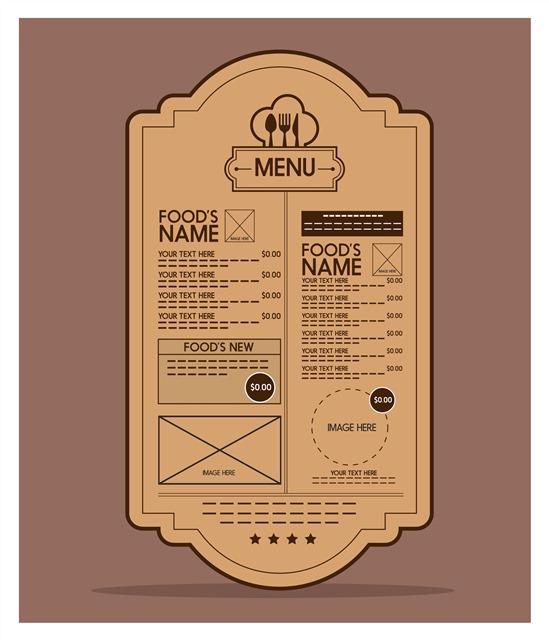 复古牛皮纸背景菜单设计
