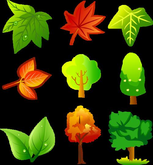 卡通手绘树叶植物免抠图片