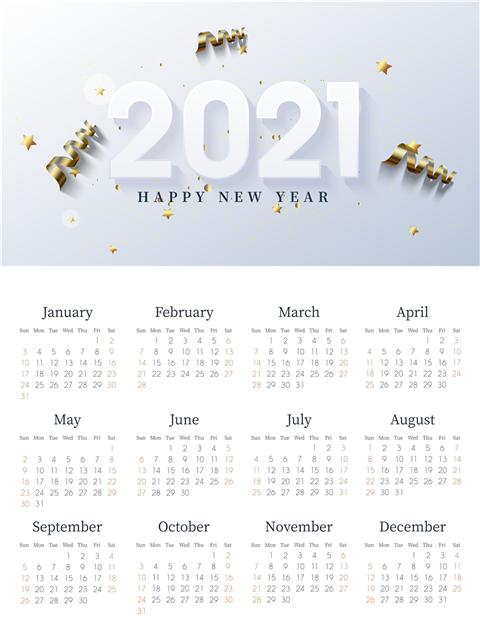 2021牛年日历英文版