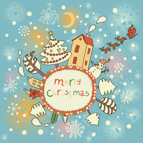 可爱圣诞老人卡片矢量