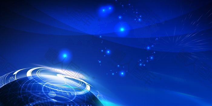 蓝色科技感年会背景图片