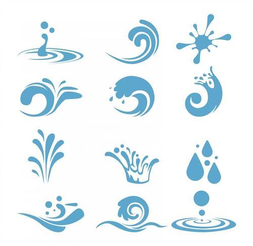蓝色水滴水珠波浪海浪图标