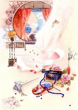 古代女子梳妆背景图