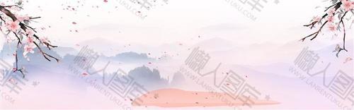 桃花山水水墨画背景图片
