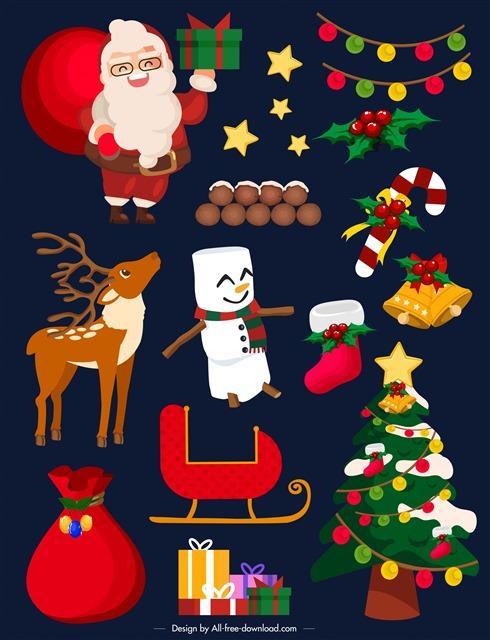 手绘圣诞节装饰元素