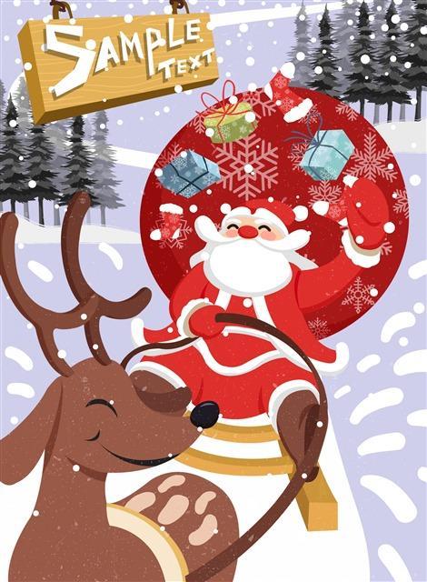卡通圣诞节圣诞老人插画海报