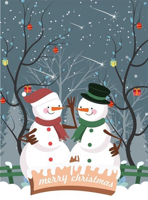 卡通圣诞节雪人插画