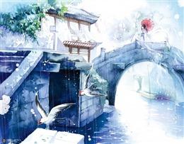 江南水乡风景画图片