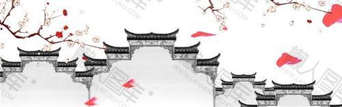 徽派建筑水墨画背景图片