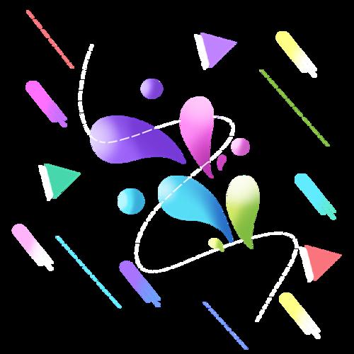 彩色渐变双十二漂浮元素