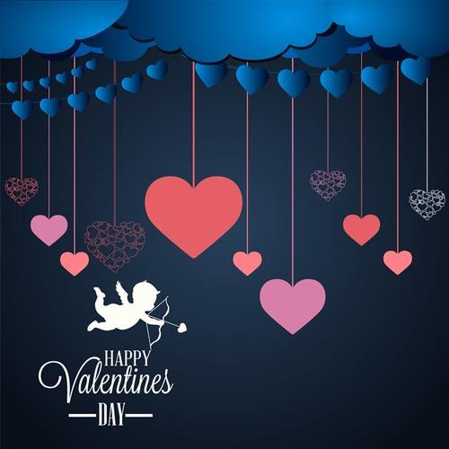 情人节浪漫心形剪纸装饰背景
