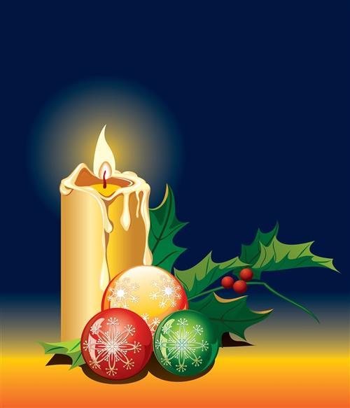 圣诞花环蜡烛图片