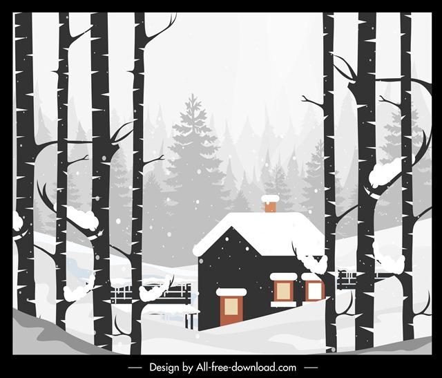 冬天雪景景观画