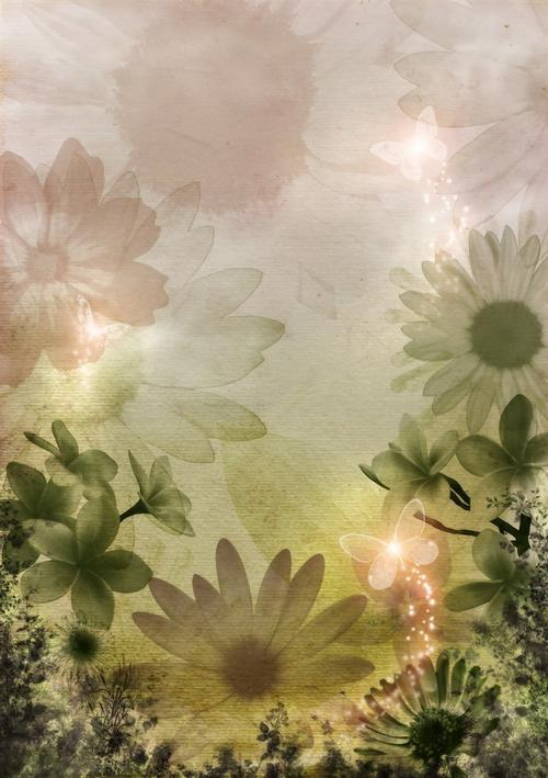 手绘菊花伤感背景图